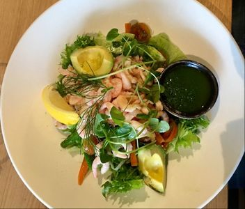 Shrimp salad at Good to Great tennis hall - Life in Danderyd